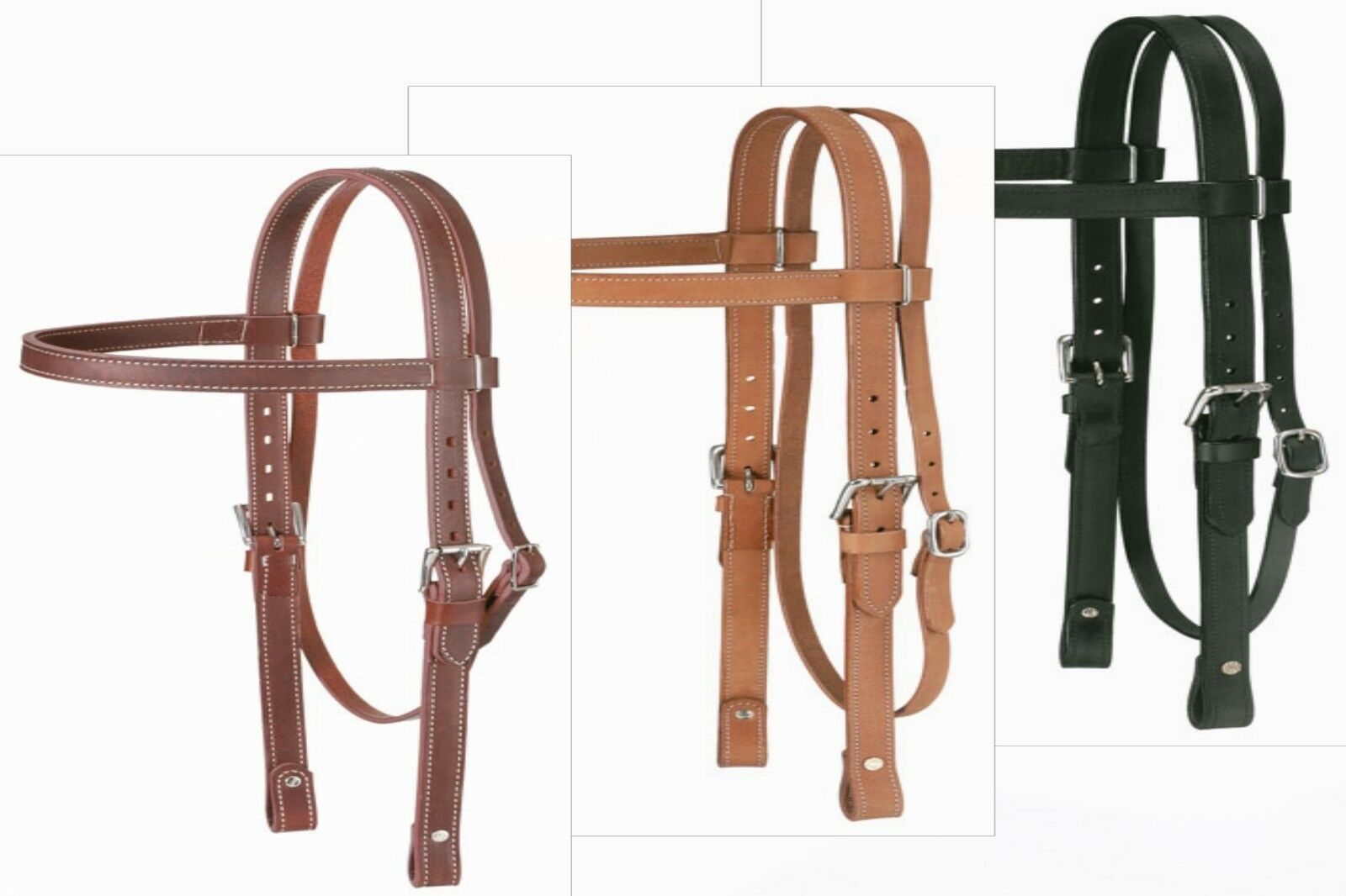 DRAFT Size Western Browband Double Stitched 1  wide Leather Bridle Headstall