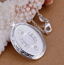 "925 Sterling Silver Oval Locket Pendant Necklace Photo & 18"" Link Chain Gift Box"