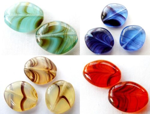 10pcs mm MARBLE GLASS MELON SEED OBLONG FLAT ROUND BEADS - 14
