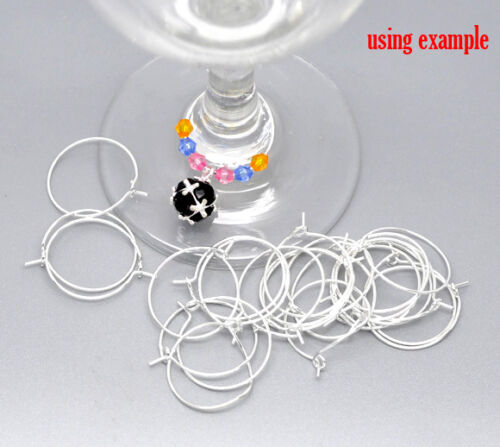 WINE GLASS CHARM RINGS~GOLD PLATED~SILVER PLATED~SILVER TONE~20mm~25mm~30mm~40mm