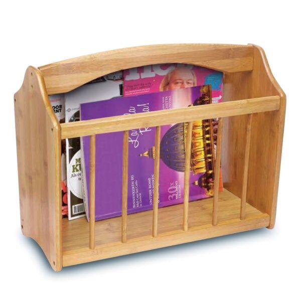 100% Waar New Bamboo Magazine Rack Wooden Newspaper Shelf Storage Holder Stand Duidelijk En Onderscheidend