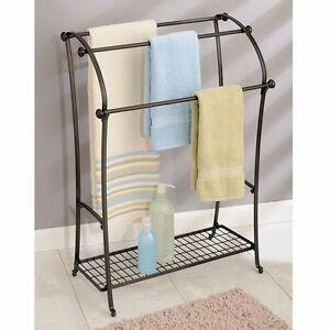 Towel Holder Floor Bathroom Free Standing Rack Hanging Shelf Home Hotel Stand 691039496713 Ebay