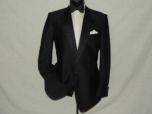 1-Button-peak-lapels-men-039-s-shiny-formal-slim-fit-tuxedo-jacket-coat-42-long
