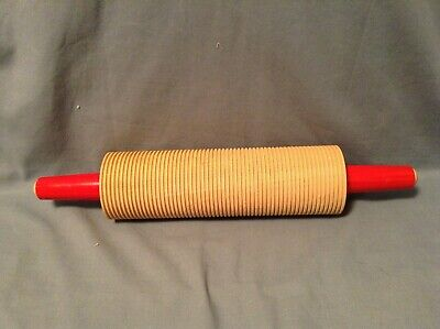 Lokstad Rolling Pin Scandinavian Lefse Flat Bread Ribbed Wood Lines Red Handle For Sale Online Ebay