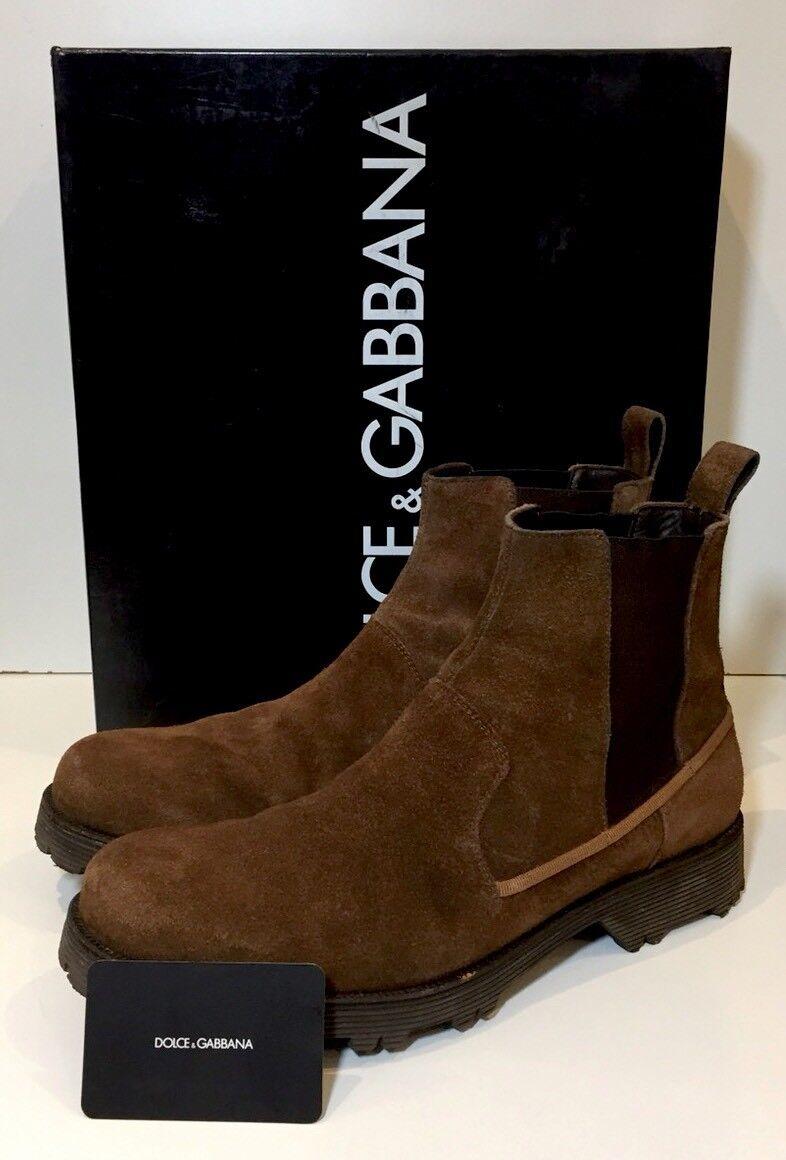 DOLCE GABBANA Marrone in Pelle Scamosciata & Chelsea in Pelle Stivali Stivali Pelle Robusto 9/43 add72a
