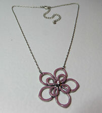 """LOVELY PINK PURPLE ENAMEL FLOWER PENDANT NECKLACE SILVER PLATED glass stone 16"""""""