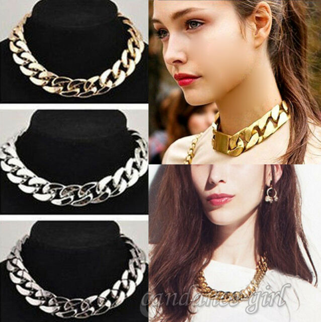 Women Stylish Jewelry Crystal Chunky Statement Chain Pendant Necklace Bib Choker