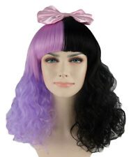 Melanie Martinez Style Dolly Purple and Black Curly Wig with Pink Bow HD-1113