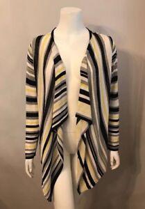 Jones New York Yellow White Black Striped Handkerchief Cardigan Sweater Sz M