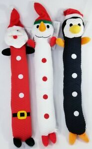 14-034-Loofa-Snowman-Santa-or-Penguin-stuffed-dog-toy-squeaker-Christmas-toys-B4