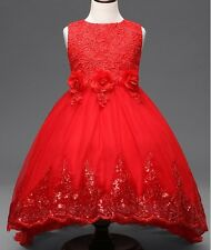 Lace Sequin Long Back Flower Girl Dress Red size 120/4-5 Y