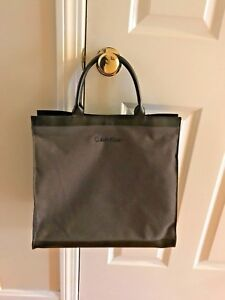Calvin Klein Tote Bag Purse Charcoal and Black Multi Texture Handbag LARGE