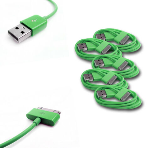 5 X 6FT USB DATA POWER CHARGER CABLE DOCK CONNECTOR APPLE IPAD IPHONE IPOD GREEN