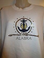 Christine Alexander Sweater Pullover Top Alaska Anchor Rhinestone Crystal Gold
