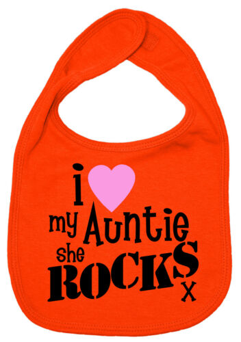 """Auntie Baby Bib /""""I Love My Auntie She Rocks/"""" Aunt Aunty Nephew Niece Gift"""