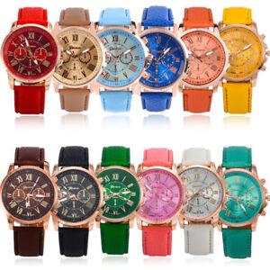 Damenmode-Genf-roemischen-Ziffern-Laessig-Leder-Quarz-Armbanduhren