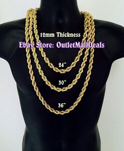 Run DMC NWA Pimp Gold Rope Chain Necklace Hip Hop Jewelry 12mm 24
