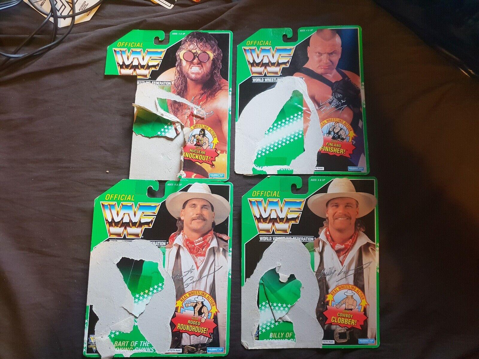 Tarjetas de respaldo x4 WWF Hasbro verde Billy Bart Gunn, Ludvig Borga, Adam Bomb WWE