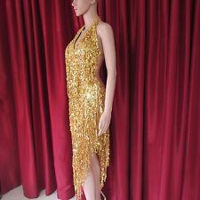 Da NeeNa R35 Gold Elegant Sexy Girl Salsa Latin Samba Drag Pageant Dance Dress M