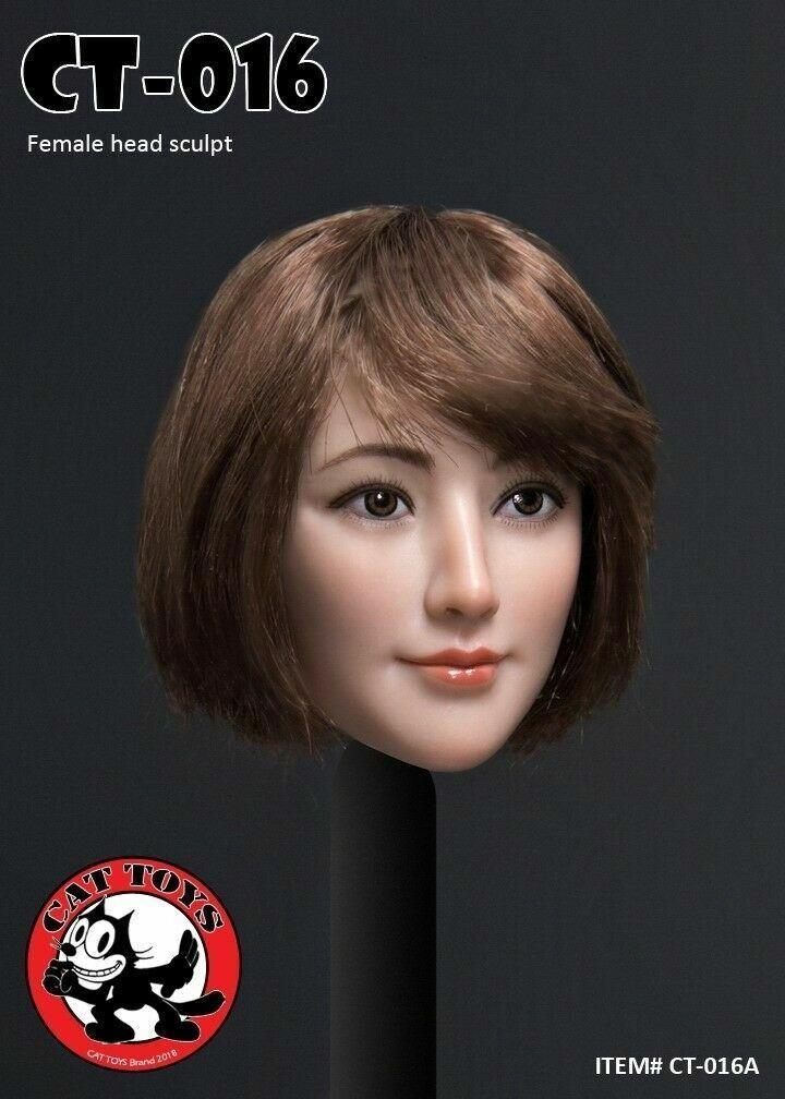 CAT TOYS 1 6 CT016A Asian Female Head Sculpt Carving Model Fit 12  Figure Body
