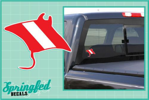 Manta Ray Shaped DIVE Flag Vinyl Decal Car Truck Sticker SCUBA Diving