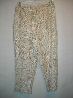 Ruby Road Brown/white Animal Print Linen Blend Lined Crops Capris 8 Petite