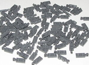 Lego-Lot-of-100-New-Dark-Bluish-Gray-Plates-Modified-1-x-2-with-Clip-Holder