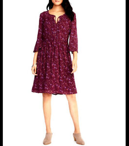 500c1a05e OLD NAVY $45 NWT Womens PLUS XXL Plum Floral Peasant DRESS Knee ...