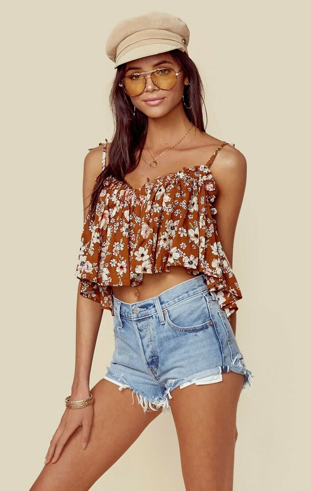 NEW FAITHFULL THE BRAND Sz XS CHANIA FLORAL FLOUNCY FLOWY CROP TOP CECILE