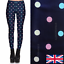 Stretchy Navy Fabric with Pastel Dots Polka Dot Leggings Size 8-18 UK