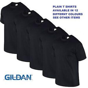 Black 1 5 10 20 pack mens blank gildan plain cotton t for Plain t shirt pack