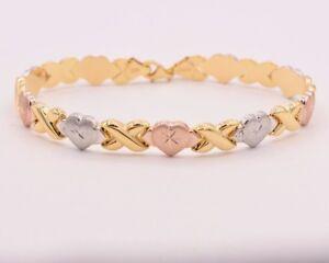 7-5-034-Hearts-amp-Kisses-Bracelet-14K-Rose-Yellow-White-Gold-Clad-Silver-XOXO-925