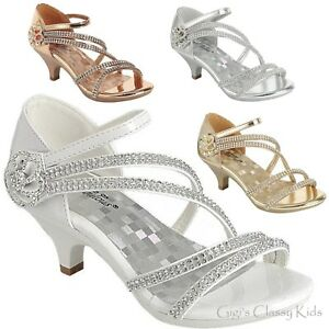 bb6d34bb6cca9 Details about Girls Silver Rose Gold White Dress Shoes Rhinestones Heels  Pageant Party Angel