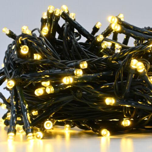 Weihnachtsbaum Lichterkette 204 LED Innen und Außen Party warm weiß 16m Licht