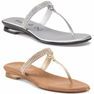 ITALIAN SHOEMAKERS Made In Italy Palms Flat Thong Sandal RHINESTONES