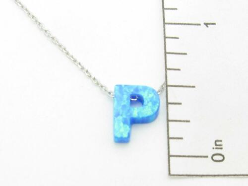 Platinum Sterling Silver Blue Opal Initial P Charm Halo Alphabet Necklace Gift