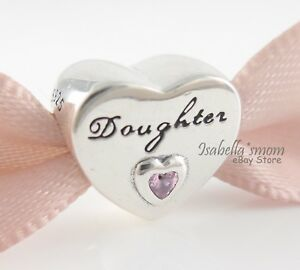 1585ee75a DAUGHTER'S LOVE Authentic PANDORA Silver/Pink HEART Charm 791726PCZ ...