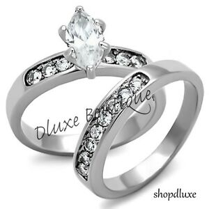 Beautiful-Marquise-Cut-Stainless-Steel-AAA-CZ-Wedding-Ring-Set-Women-039-s-Size-5-10