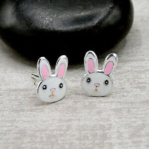 Bunny-Rabbit-Post-Earrings-925-Sterling-Silver-Easter-White-Rabbit-Studs-NEW