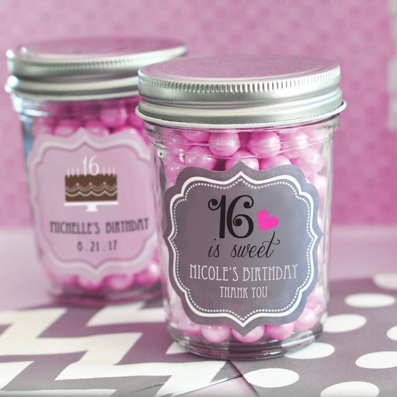 96 Personalized Sweet 16 15 Birthday Theme Mini Mason Jars Birthday Party Favors
