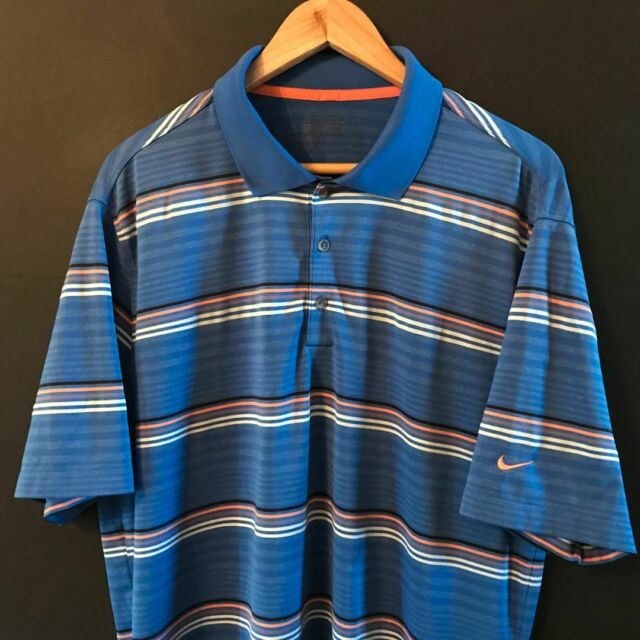 NIKE GOLF ( TOUR PERFORMANCE ) Men's Dri-Fit Polo Shirt sz L Large Blue Striped
