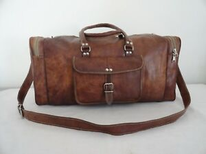 Men-039-s-Leather-Duffle-Bag-Holdall-Weekend-Traveling-Luggage-Handbag-Overnight-Bag