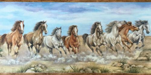 Pferdebordüre Pferde Pony braun blau Dekoration Borte 5m lang von Rasch 255003