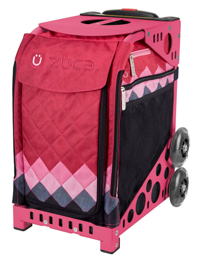 ZUCA Bag PINK DIAMONDS Insert & Pink Frame w Flashing Wheels -FREE SEAT CUSHION
