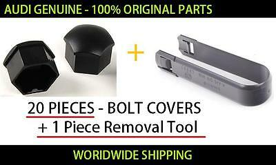 Audi Wheel Bolt Covers 20 Pieces+Removal Tool GENUINE 321601173A01C+8D0012244A