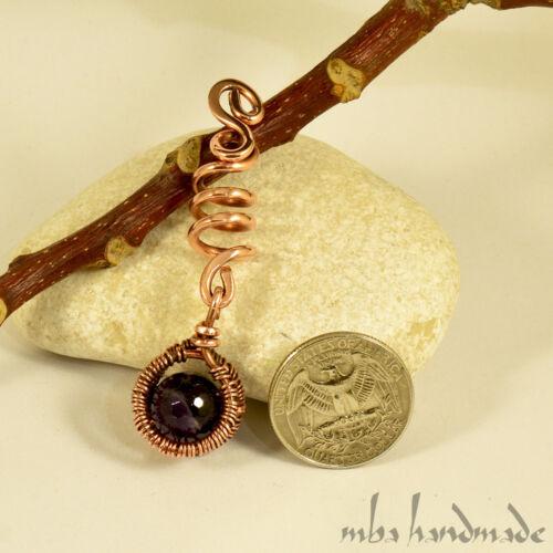 Spiral Antiqued Copper Amethyst Viking Hair Beads Beard Dreadlock Hair Accessory
