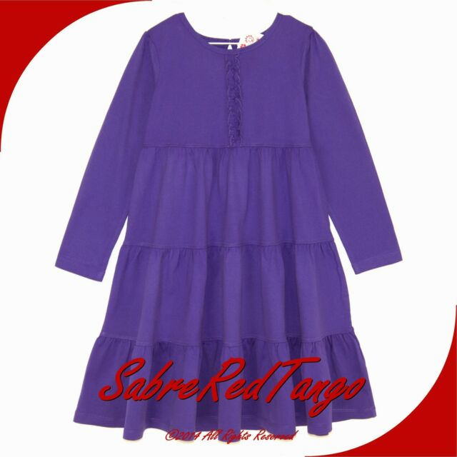 NWT HANNA ANDERSSON LOVE TO TWIRL GIRL DRESS GRAPE JUICE RUFFLES 80 10-24 M