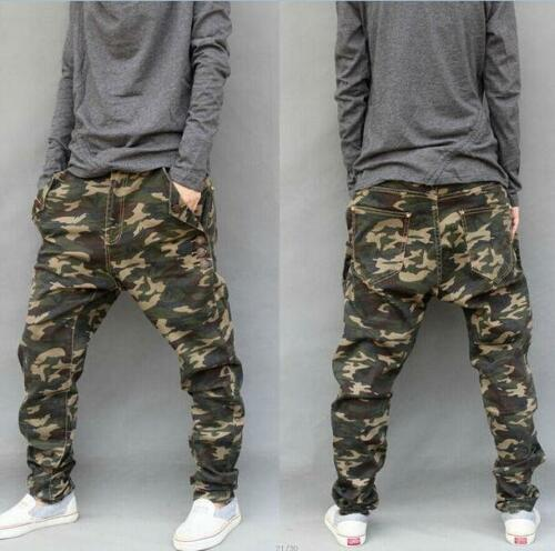 Mens Camo Harem Pants Loose Overalls Cargo Casual Skinny Cotton Trousers 26-46