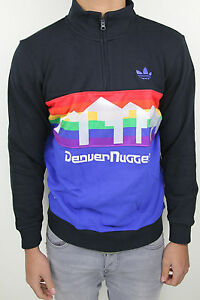 3e824cd73f1 ADIDAS ORIGINALS NBA DENVER NUGGETS HALF ZIP SWEATER BLACK RAINBOW ...