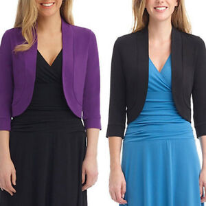 Women-3-4-Sleeve-Open-Front-Cropped-Evening-Shrug-Bolero-Top-Cardigan-Jacket-NEW